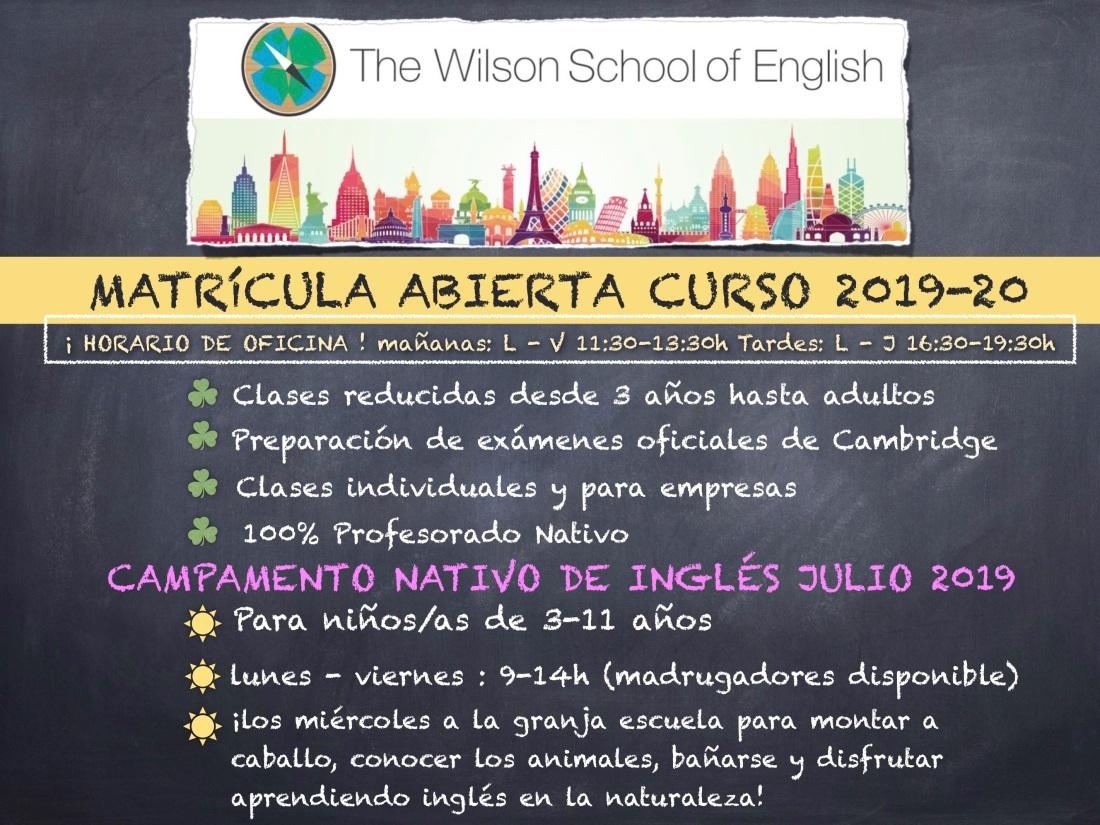matricula abierta 2019-20 poster